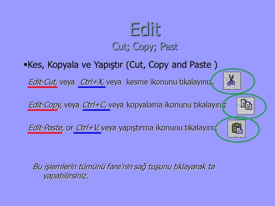 Edit-Copy, veya Ctrl+C, veya kopyalama ikonunu tıkalayınız Edit-Paste, or Ctrl+V, veya yapıştırma ikonunu tıkalayınız Edit-Cut, veya Ctrl+X, veya kesm
