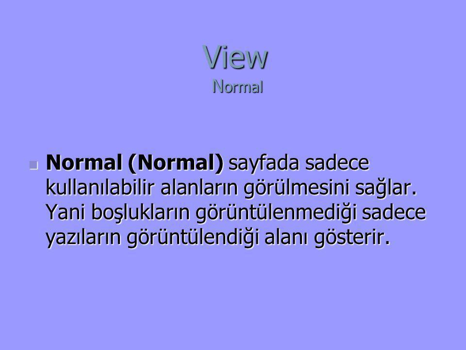  Normal (Normal) sayfada sadece kullanılabilir alanların görülmesini sağlar. Yani boşlukların görüntülenmediği sadece yazıların görüntülendiği alanı