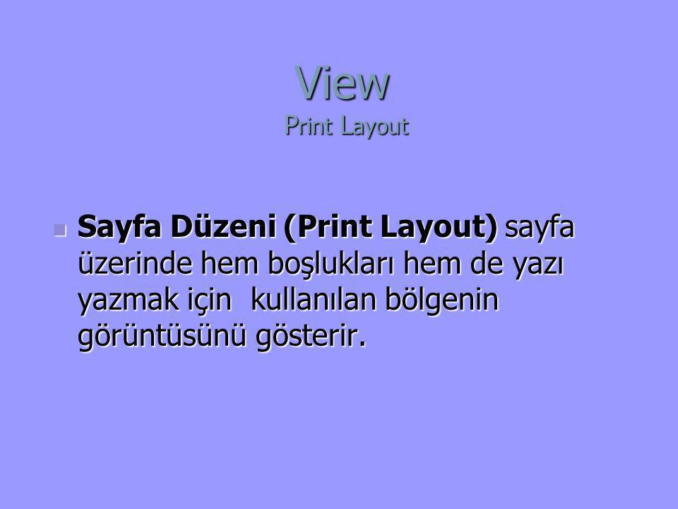  Sayfa Düzeni (Print Layout) sayfa üzerinde hem boşlukları hem de yazı yazmak için kullanılan bölgenin görüntüsünü gösterir. View P rint L ayout