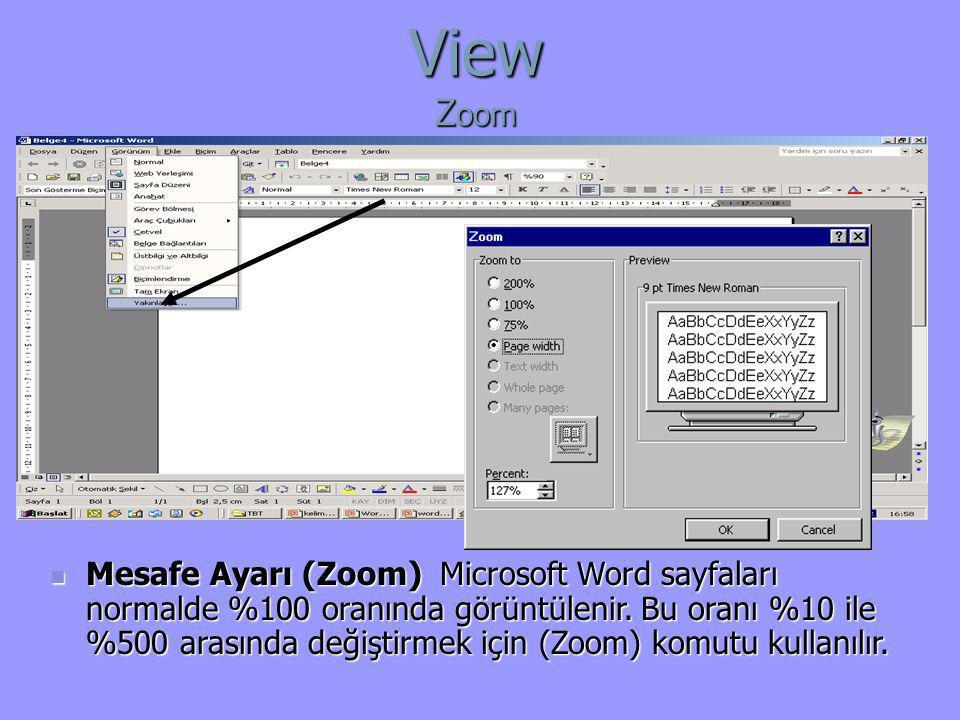  Mesafe Ayarı (Zoom) Microsoft Word sayfaları normalde %100 oranında görüntülenir. Bu oranı %10 ile %500 arasında değiştirmek için (Zoom) komutu kull