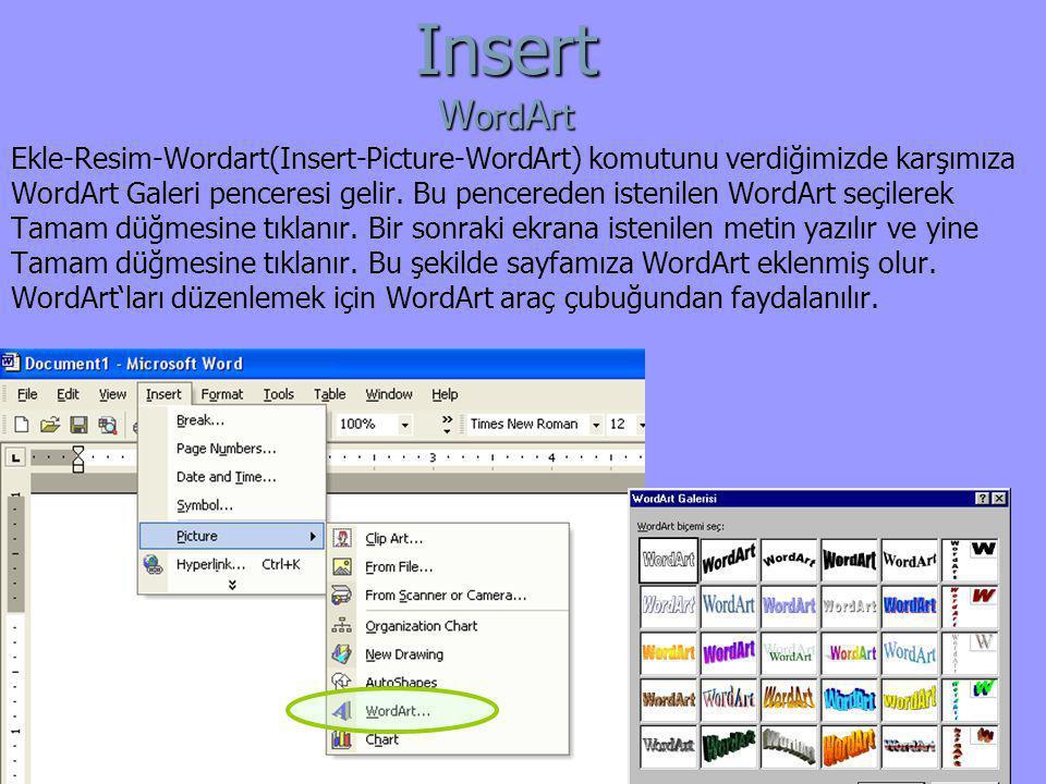 Ekle-Resim-Wordart(Insert-Picture-WordArt) komutunu verdiğimizde karşımıza WordArt Galeri penceresi gelir. Bu pencereden istenilen WordArt seçilerek T