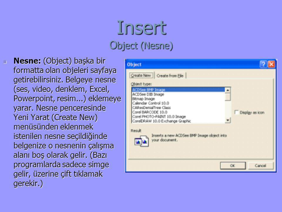 Insert O bject (Nesne)  Nesne: (Object) başka bir formatta olan objeleri sayfaya getirebilirsiniz. Belgeye nesne (ses, video, denklem, Excel, Powerpo