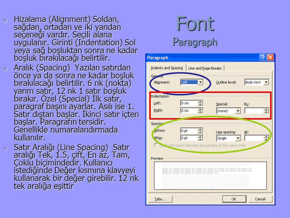 Font P aragraph  Hizalama (Alignment) Soldan, sağdan, ortadan ve iki yandan seçeneği vardır. Seçili alana uygulanır. Girinti (Indentation) Sol veya s
