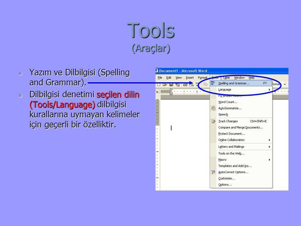 Tools (Araçlar)  Yazım ve Dilbilgisi (Spelling and Grammar).  Dilbilgisi denetimi seçilen dilin (Tools/Language) dilbilgisi kurallarına uymayan keli