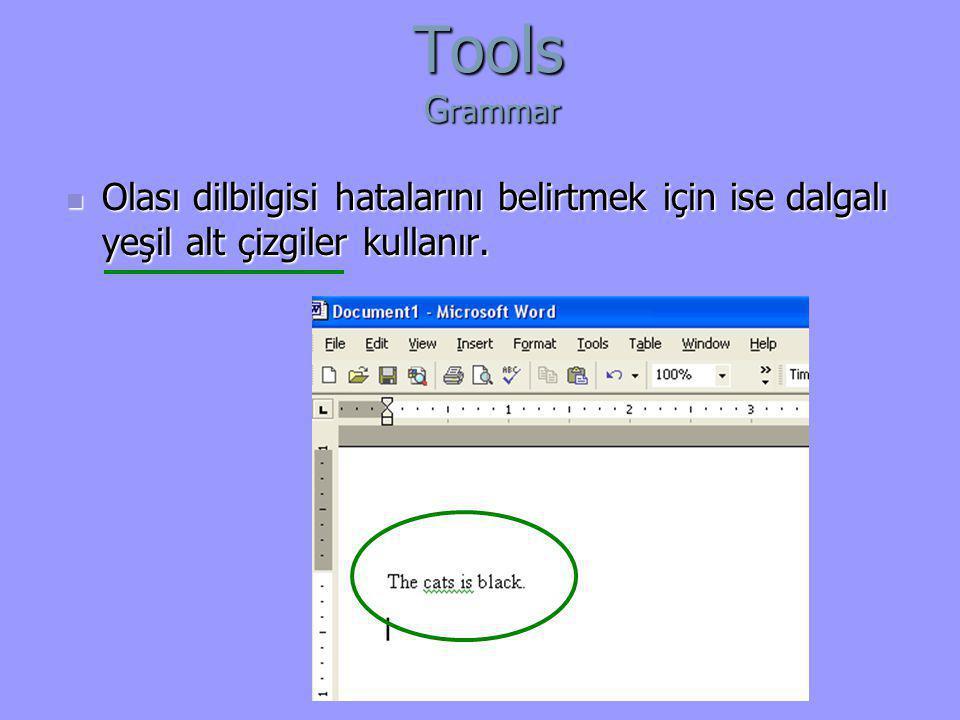 Tools G rammar  Olası dilbilgisi hatalarını belirtmek için ise dalgalı yeşil alt çizgiler kullanır.