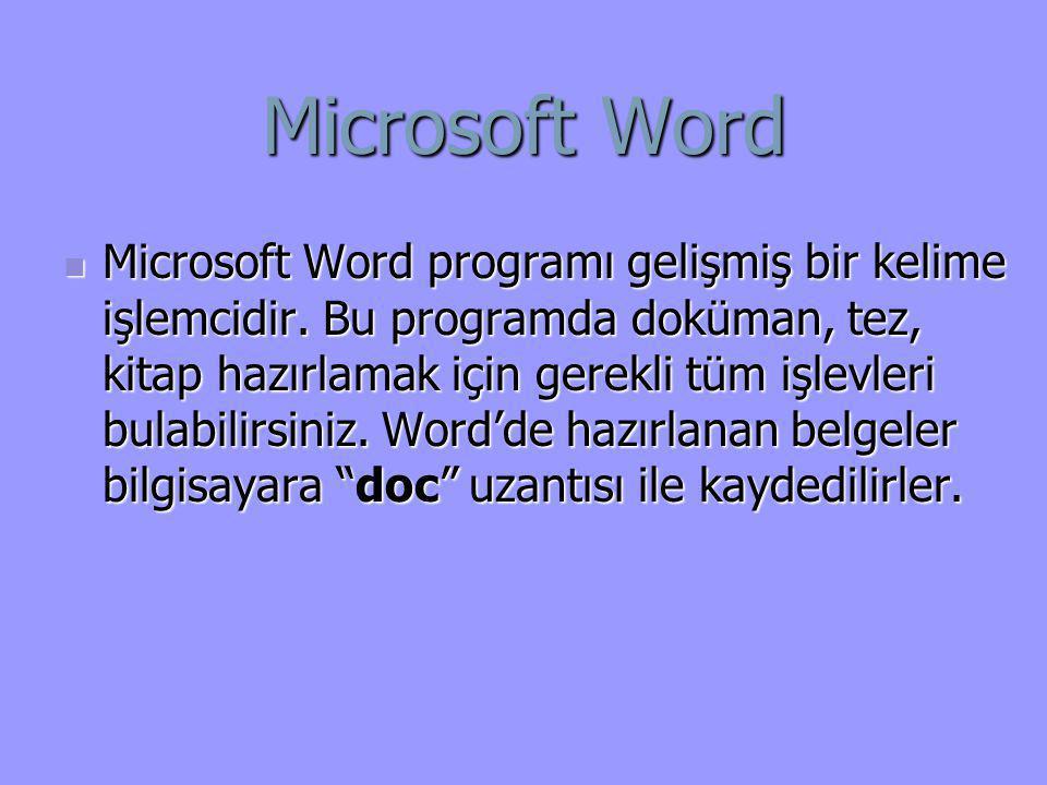 Microsoft Word  Microsoft Word programı gelişmiş bir kelime işlemcidir. Bu programda doküman, tez, kitap hazırlamak için gerekli tüm işlevleri bulabi