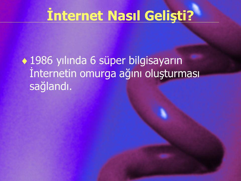 İnternet Nasıl Gelişti?  1986 yılında 6 süper bilgisayarın İnternetin omurga ağını oluşturması sağlandı.