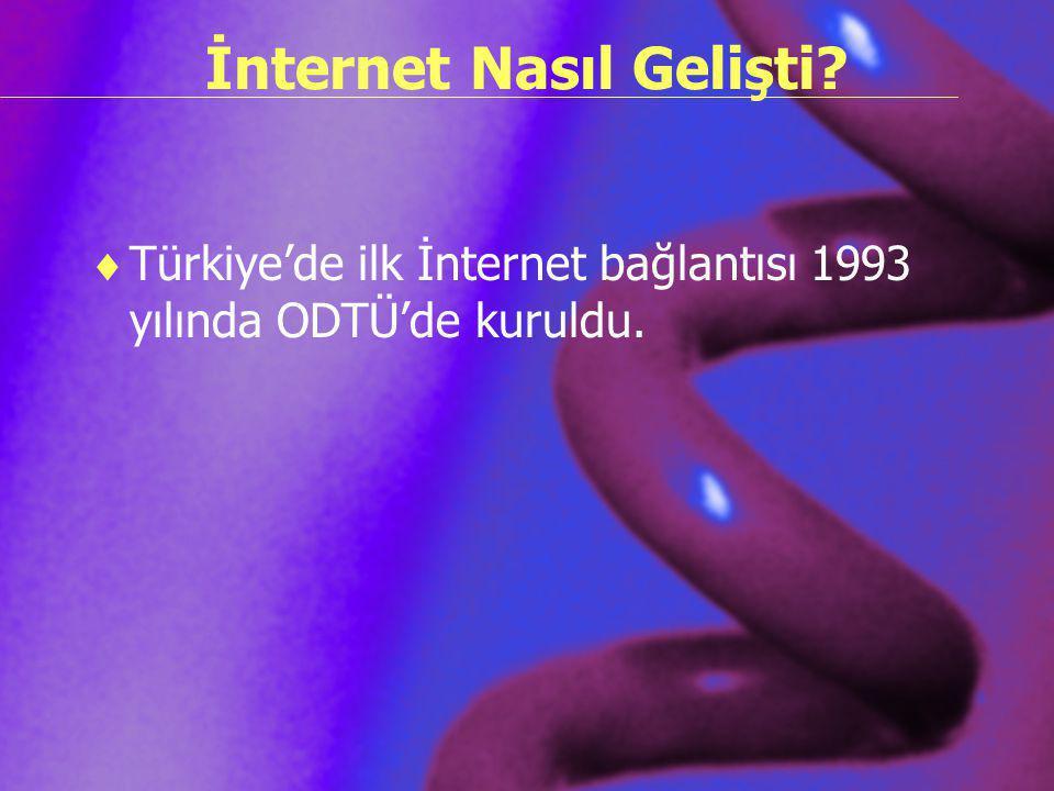 İnternet Nasıl Gelişti?  Türkiye'de ilk İnternet bağlantısı 1993 yılında ODTÜ'de kuruldu.