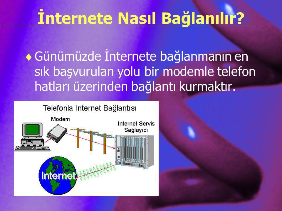 İnternete Nasıl Bağlanılır?  Günümüzde İnternete bağlanmanın en sık başvurulan yolu bir modemle telefon hatları üzerinden bağlantı kurmaktır.