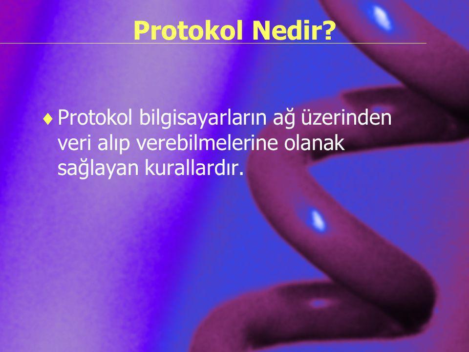 Protokol Nedir?  Protokol bilgisayarların ağ üzerinden veri alıp verebilmelerine olanak sağlayan kurallardır.