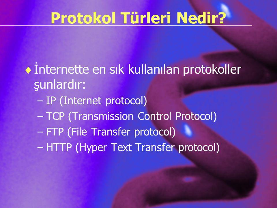 Protokol Türleri Nedir?  İnternette en sık kullanılan protokoller şunlardır: –IP (Internet protocol) –TCP (Transmission Control Protocol) –FTP (File