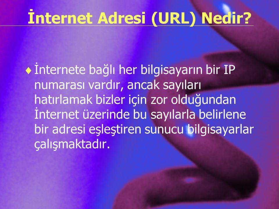 İnternet Adresi (URL) Nedir?  İnternete bağlı her bilgisayarın bir IP numarası vardır, ancak sayıları hatırlamak bizler için zor olduğundan İnternet
