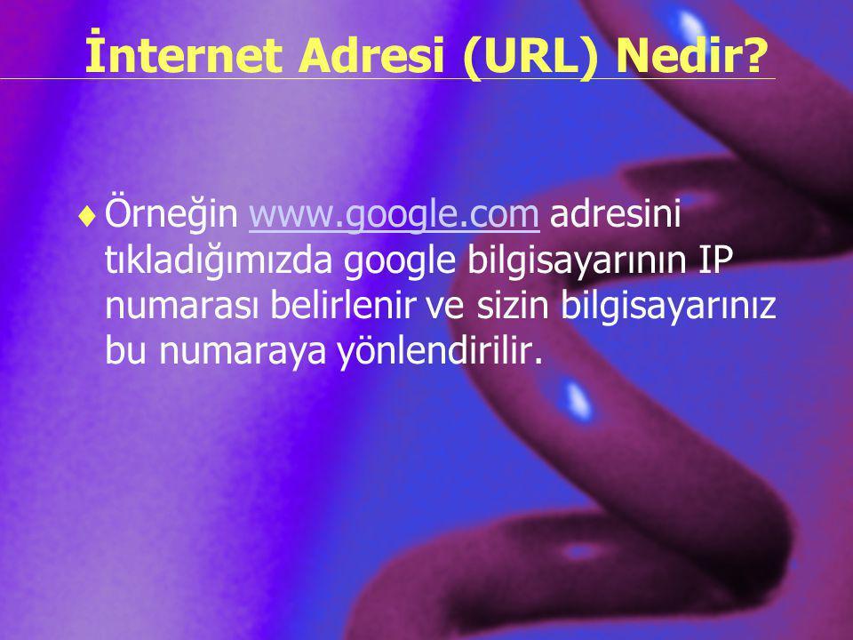 İnternet Adresi (URL) Nedir?  Örneğin www.google.com adresini tıkladığımızda google bilgisayarının IP numarası belirlenir ve sizin bilgisayarınız bu