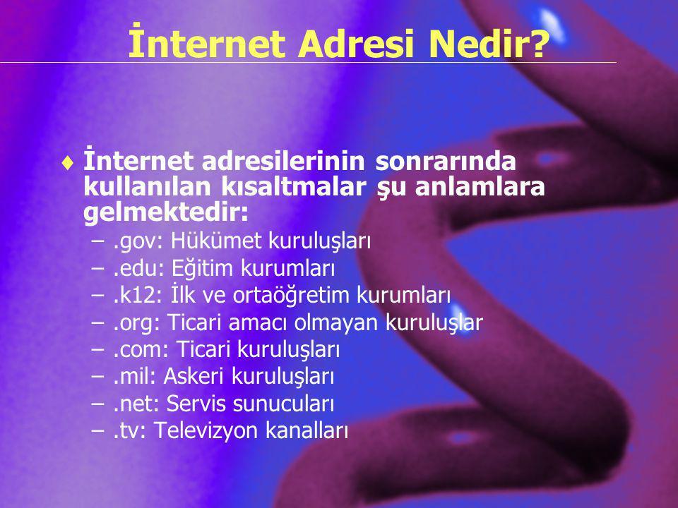 İnternet Adresi Nedir?  İnternet adresilerinin sonrarında kullanılan kısaltmalar şu anlamlara gelmektedir: –.gov: Hükümet kuruluşları –.edu: Eğitim k