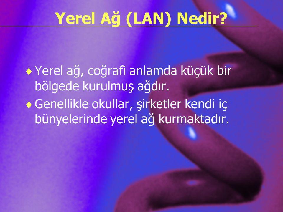 Yerel Ağ (LAN) Nedir?  Yerel ağ, coğrafi anlamda küçük bir bölgede kurulmuş ağdır.  Genellikle okullar, şirketler kendi iç bünyelerinde yerel ağ kur