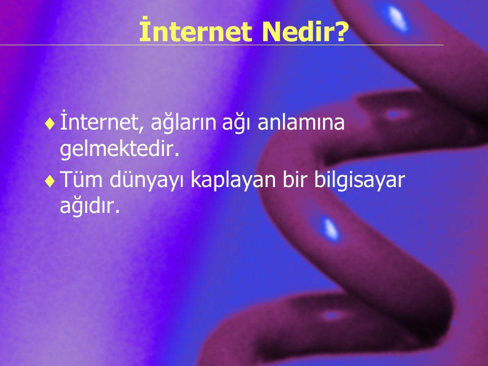 İnternet Nedir?  İnternet, ağların ağı anlamına gelmektedir.  Tüm dünyayı kaplayan bir bilgisayar ağıdır.