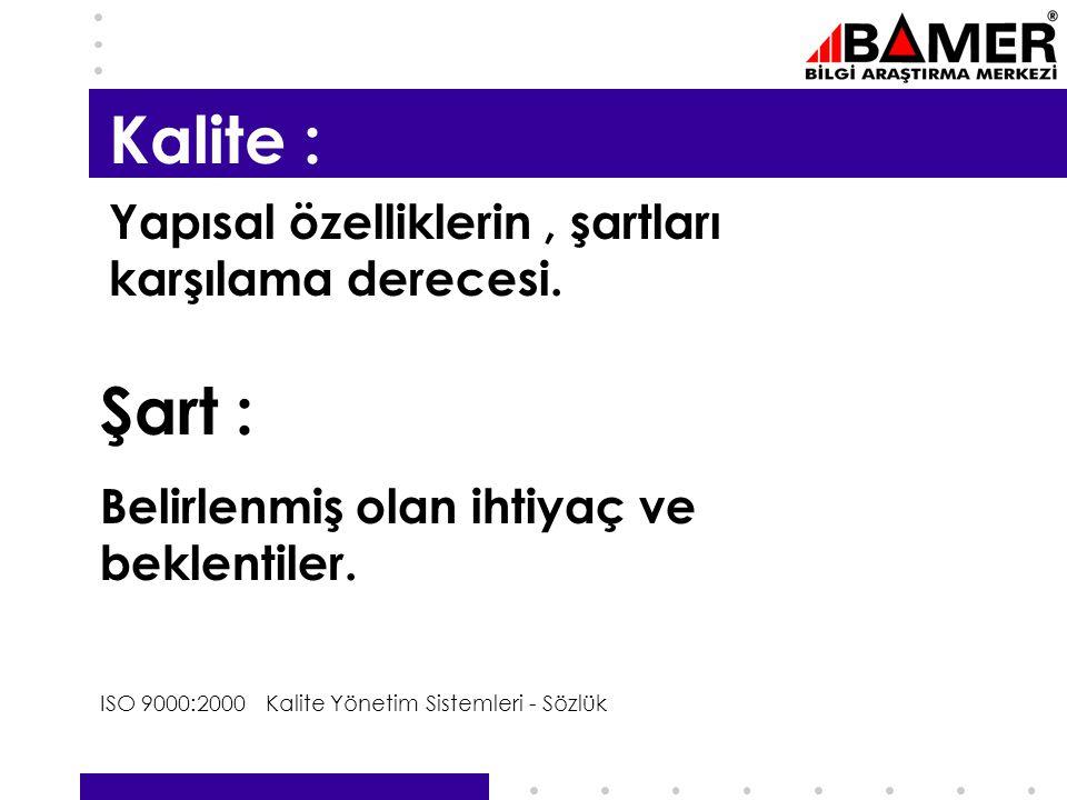 5 Kalite : Yapısal özelliklerin, şartları karşılama derecesi.