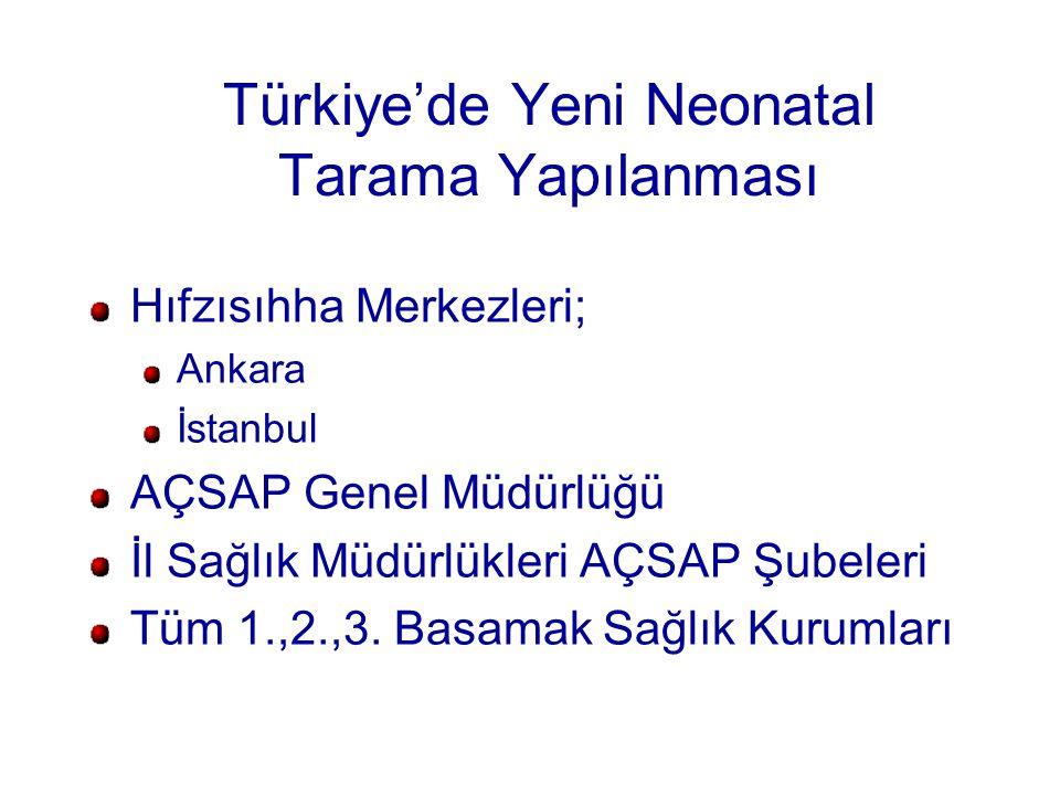 Türkiye'de Yeni Neonatal Tarama Yapılanması Hıfzısıhha Merkezleri; Ankara İstanbul AÇSAP Genel Müdürlüğü İl Sağlık Müdürlükleri AÇSAP Şubeleri Tüm 1.,