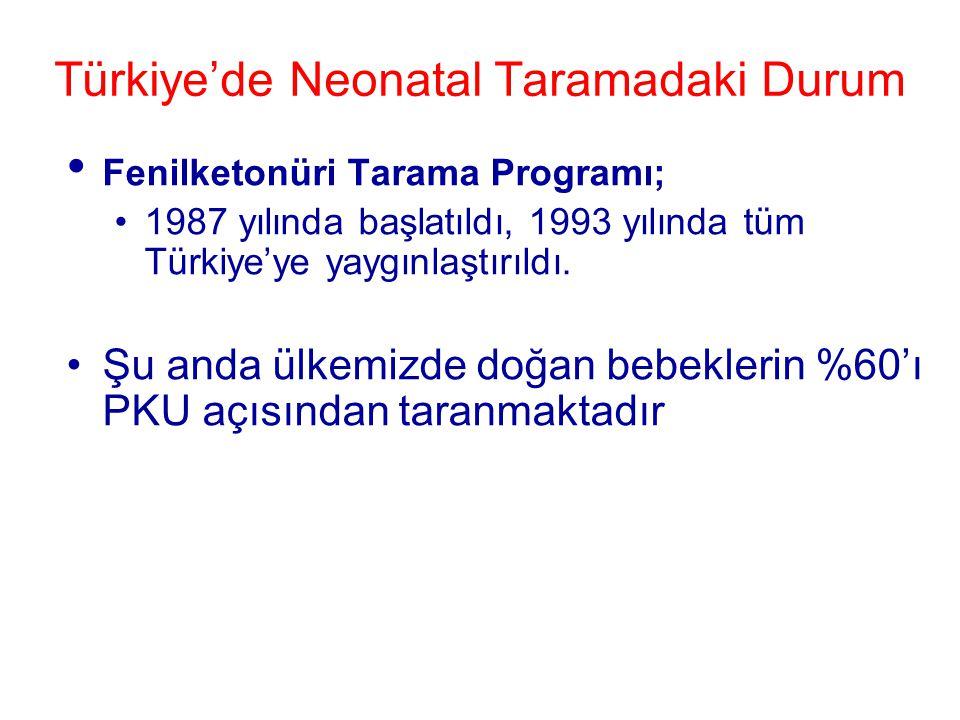 Türkiye'de Neonatal Taramadaki Durum • Fenilketonüri Tarama Programı; •1987 yılında başlatıldı, 1993 yılında tüm Türkiye'ye yaygınlaştırıldı. •Şu anda