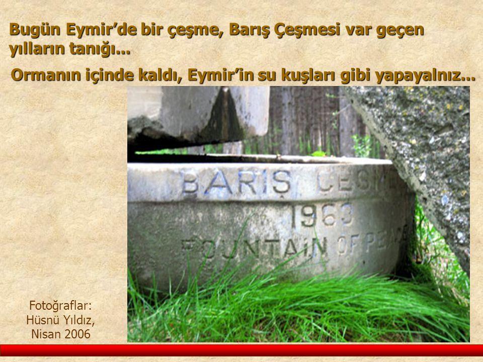 Bugün Eymir'de bir çeşme, Barış Çeşmesi var geçen yılların tanığı... Fotoğraflar: Hüsnü Yıldız, Nisan 2006 Ormanın içinde kaldı, Eymir'in su kuşları g