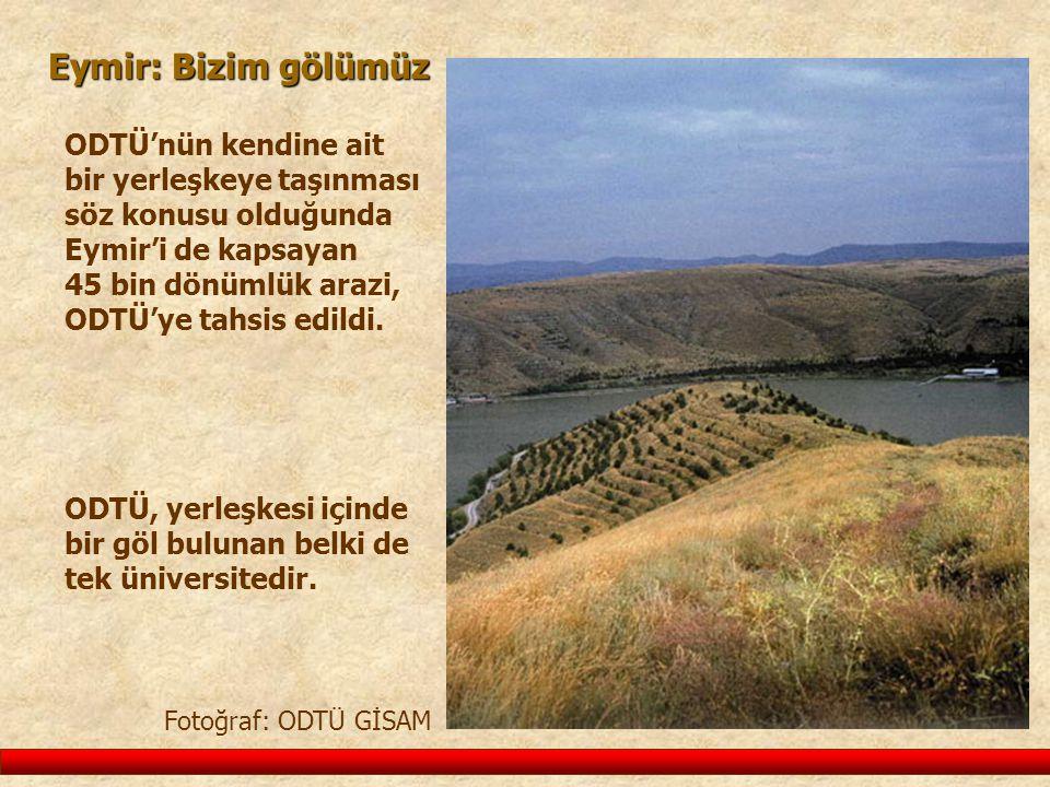 Eymir: Bizim gölümüz ODTÜ'nün kendine ait bir yerleşkeye taşınması söz konusu olduğunda Eymir'i de kapsayan 45 bin dönümlük arazi, ODTÜ'ye tahsis edil