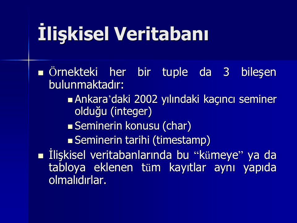 İlişkisel Veritabanı  Ö rnekteki her bir tuple da 3 bileşen bulunmaktadır:  Ankara ' daki 2002 yılındaki kaçıncı seminer olduğu (integer)  Semineri