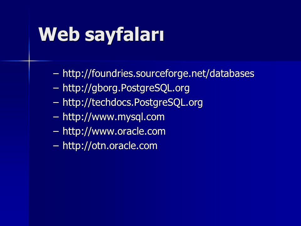 Web sayfaları –http://foundries.sourceforge.net/databases –http://gborg.PostgreSQL.org –http://techdocs.PostgreSQL.org –http://www.mysql.com –http://www.oracle.com –http://otn.oracle.com