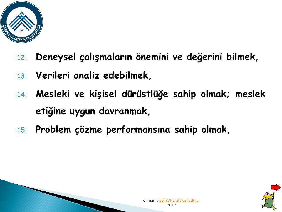 12.Deneysel çalışmaların önemini ve değerini bilmek, 13.