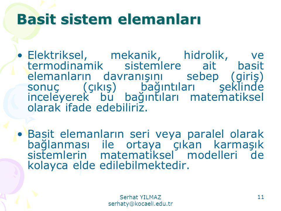Serhat YILMAZ serhaty@kocaeli.edu.tr 11 Basit sistem elemanları •Elektriksel, mekanik, hidrolik, ve termodinamik sistemlere ait basit elemanların davr