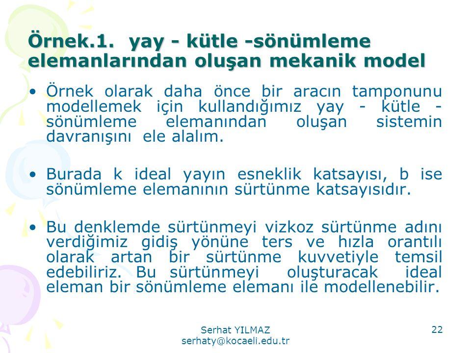 Serhat YILMAZ serhaty@kocaeli.edu.tr 22 Örnek.1. yay - kütle -sönümleme elemanlarından oluşan mekanik model •Örnek olarak daha önce bir aracın tamponu