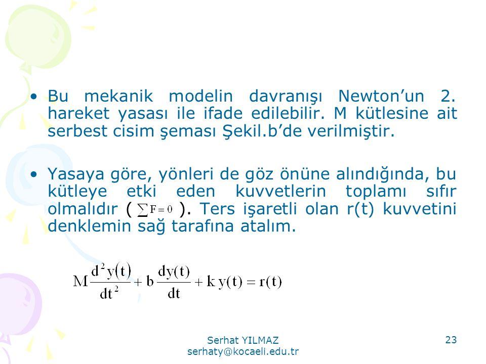 Serhat YILMAZ serhaty@kocaeli.edu.tr 23 •Bu mekanik modelin davranışı Newton'un 2. hareket yasası ile ifade edilebilir. M kütlesine ait serbest cisim