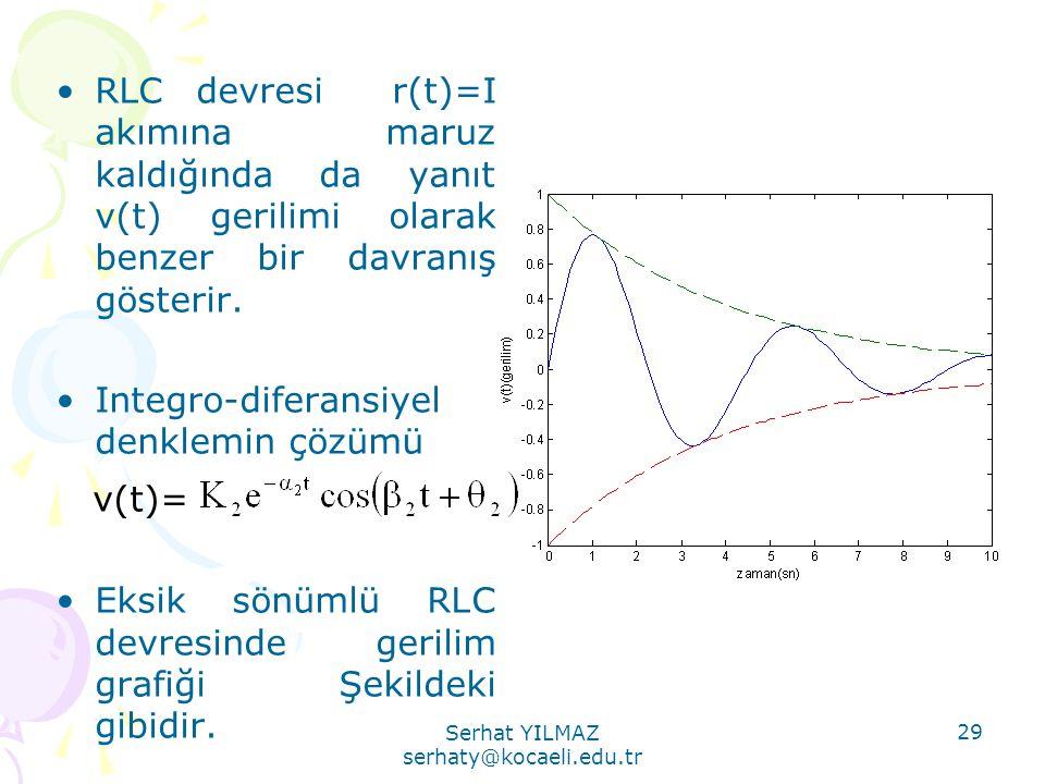 Serhat YILMAZ serhaty@kocaeli.edu.tr 29 •RLC devresi r(t)=I akımına maruz kaldığında da yanıt v(t) gerilimi olarak benzer bir davranış gösterir. •Inte