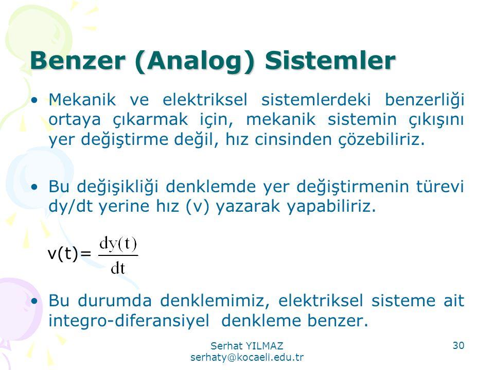 Serhat YILMAZ serhaty@kocaeli.edu.tr 30 Benzer (Analog) Sistemler •Mekanik ve elektriksel sistemlerdeki benzerliği ortaya çıkarmak için, mekanik siste