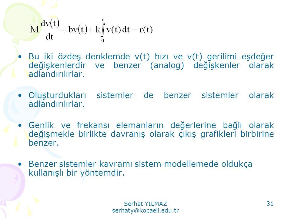 Serhat YILMAZ serhaty@kocaeli.edu.tr 31 •Bu iki özdeş denklemde v(t) hızı ve v(t) gerilimi eşdeğer değişkenlerdir ve benzer (analog) değişkenler olara