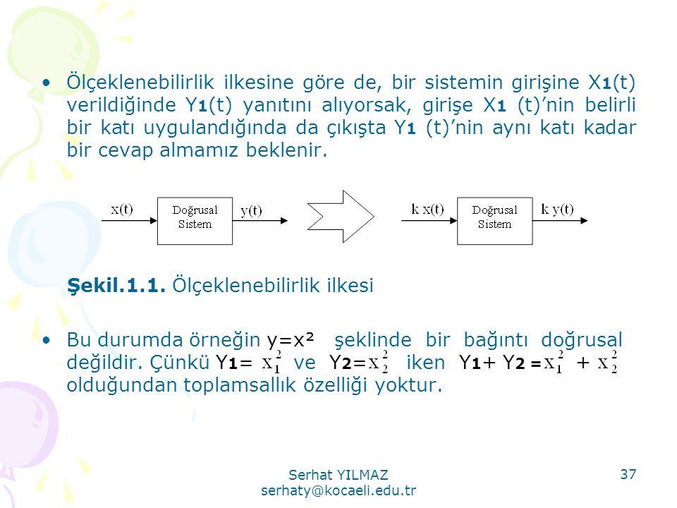 Serhat YILMAZ serhaty@kocaeli.edu.tr 37 •Ölçeklenebilirlik ilkesine göre de, bir sistemin girişine X 1 (t) verildiğinde Y 1 (t) yanıtını alıyorsak, gi