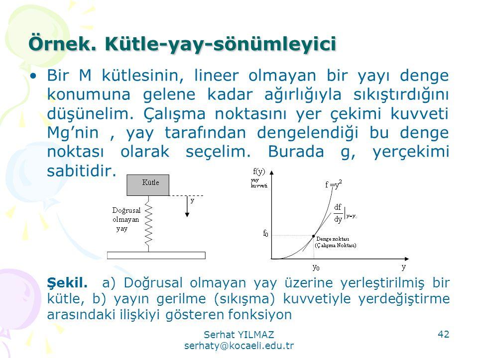 Serhat YILMAZ serhaty@kocaeli.edu.tr 42 Örnek. Kütle-yay-sönümleyici •Bir M kütlesinin, lineer olmayan bir yayı denge konumuna gelene kadar ağırlığıyl