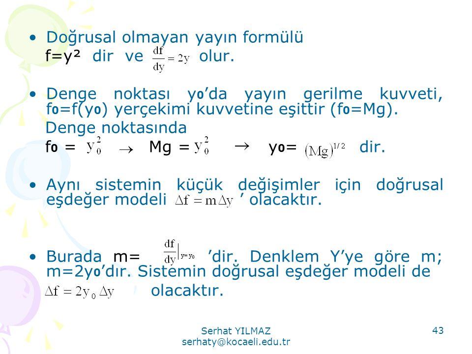 Serhat YILMAZ serhaty@kocaeli.edu.tr 43 •Doğrusal olmayan yayın formülü f=y² dir ve olur. •Denge noktası y 0 'da yayın gerilme kuvveti, f 0 =f(y 0 ) y
