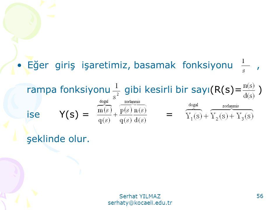 Serhat YILMAZ serhaty@kocaeli.edu.tr 56 •Eğer giriş işaretimiz, basamak fonksiyonu, rampa fonksiyonu gibi kesirli bir sayı(R(s)= ) ise Y(s) = = şeklin
