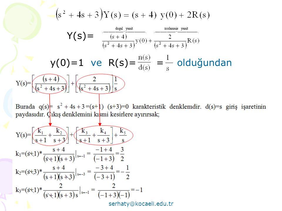 Serhat YILMAZ serhaty@kocaeli.edu.tr 59 Y(s)= y(0)=1 ve R(s)= = olduğundan