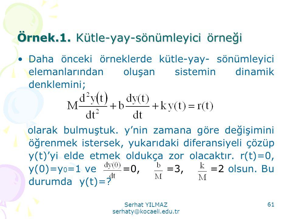 Serhat YILMAZ serhaty@kocaeli.edu.tr 61 Örnek.1. Kütle-yay-sönümleyici örneği •Daha önceki örneklerde kütle-yay- sönümleyici elemanlarından oluşan sis