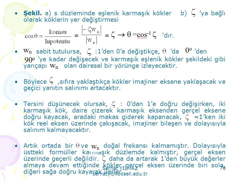 Serhat YILMAZ serhaty@kocaeli.edu.tr 76 •Şekil. a) s düzleminde eşlenik karmaşık kökler b) 'ya bağlı olarak köklerin yer değiştirmesi = = 'dır. • sabi