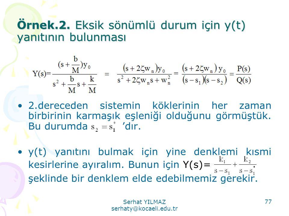 Serhat YILMAZ serhaty@kocaeli.edu.tr 77 Örnek.2. Eksik sönümlü durum için y(t) yanıtının bulunması •2.dereceden sistemin köklerinin her zaman birbirin