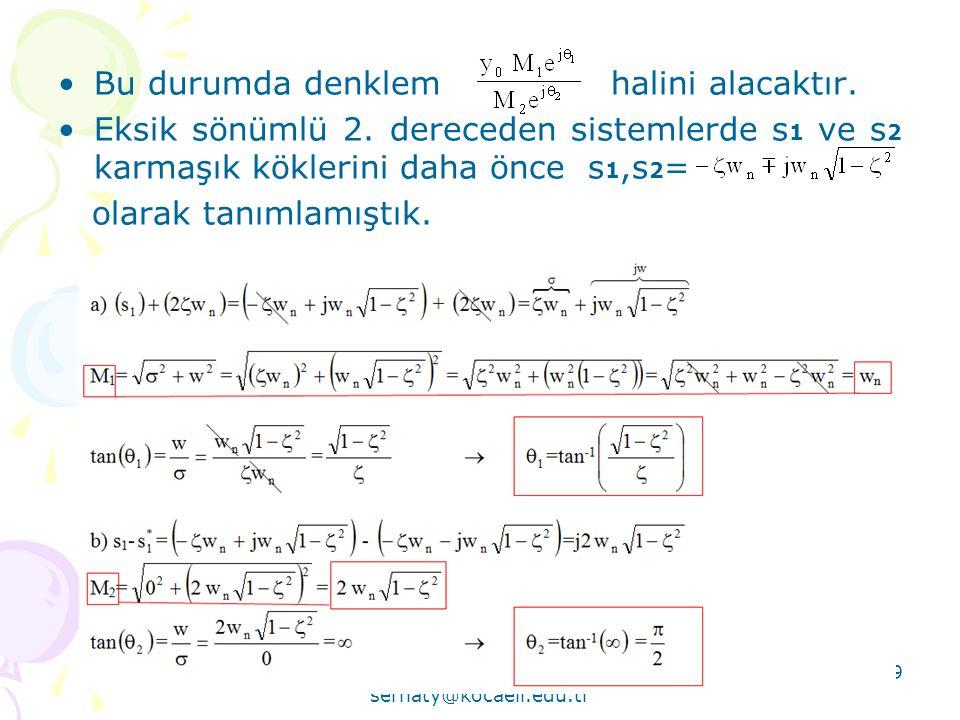Serhat YILMAZ serhaty@kocaeli.edu.tr 79 •Bu durumda denklem halini alacaktır. •Eksik sönümlü 2. dereceden sistemlerde s 1 ve s 2 karmaşık köklerini da