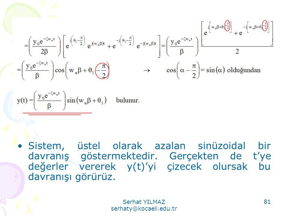 Serhat YILMAZ serhaty@kocaeli.edu.tr 81 •Sistem, üstel olarak azalan sinüzoidal bir davranış göstermektedir. Gerçekten de t'ye değerler vererek y(t)'y