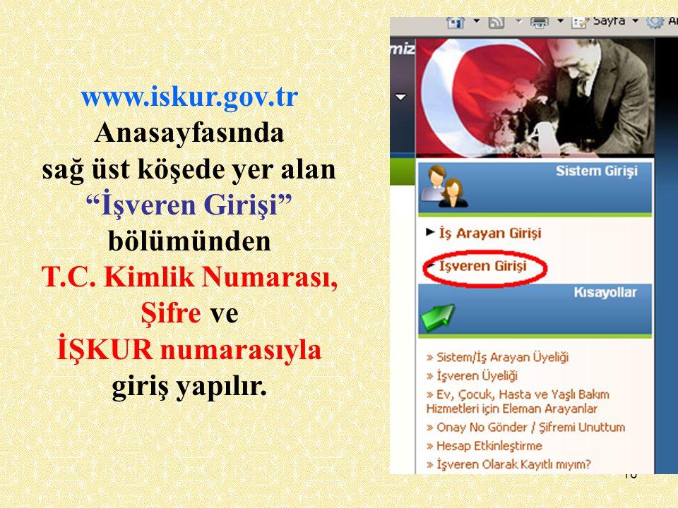 """16 www.iskur.gov.tr Anasayfasında sağ üst köşede yer alan """"İşveren Girişi"""" bölümünden T.C. Kimlik Numarası, Şifre ve İŞKUR numarasıyla giriş yapılır."""