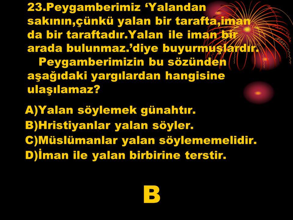 22.Hz.Muhammed bir hadisinde 'Allah'a ve ahiret gününe inanan ya hayır söylesin ya da sussun.'demiştir.