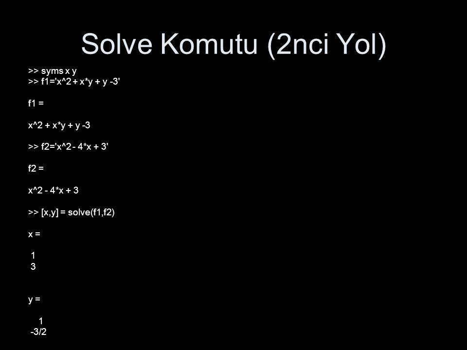Solve Komutu (2nci Yol) >> syms x y >> f1='x^2 + x*y + y -3' f1 = x^2 + x*y + y -3 >> f2='x^2 - 4*x + 3' f2 = x^2 - 4*x + 3 >> [x,y] = solve(f1,f2) x