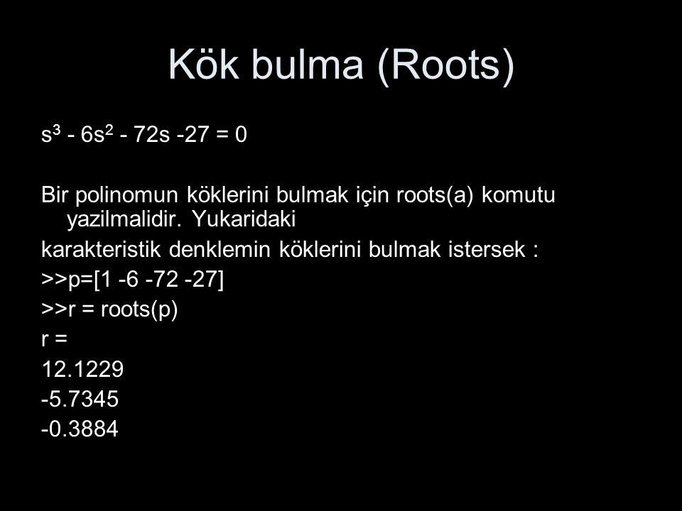 Kök bulma (Roots) s 3 - 6s 2 - 72s -27 = 0 Bir polinomun köklerini bulmak için roots(a) komutu yazilmalidir. Yukaridaki karakteristik denklemin kökler