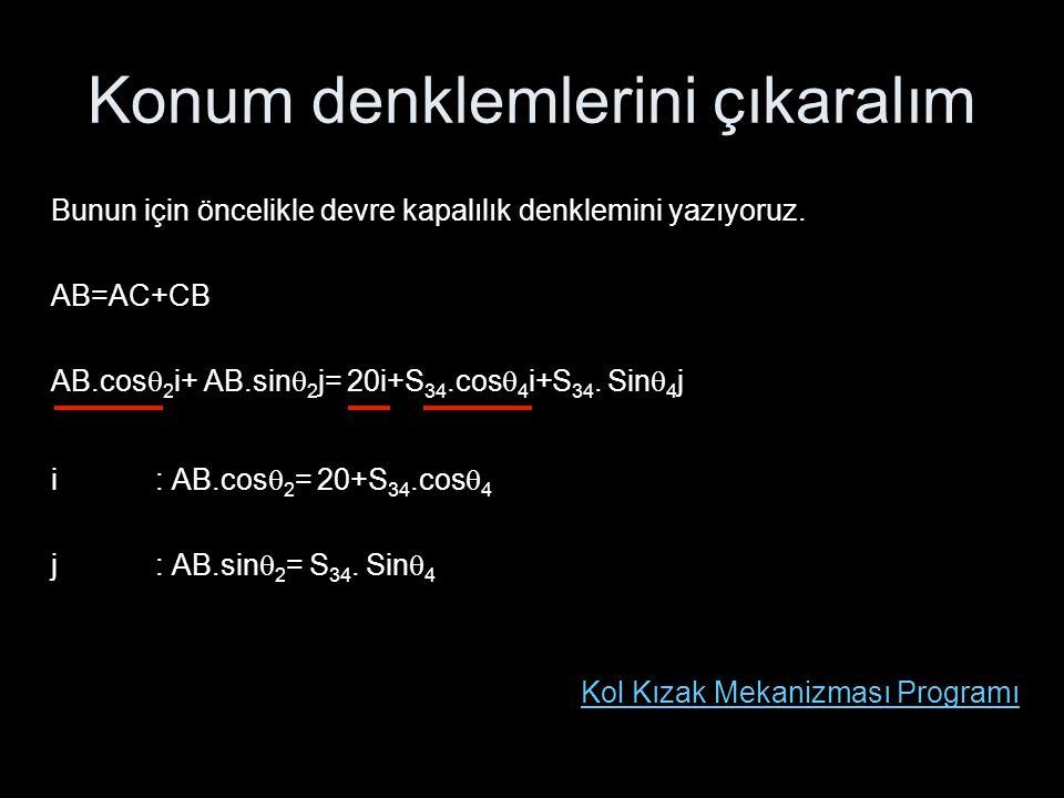 Konum denklemlerini çıkaralım Bunun için öncelikle devre kapalılık denklemini yazıyoruz. AB=AC+CB AB.cos  2 i+ AB.sin  2 j= 20i+S 34.cos  4 i+S 34.