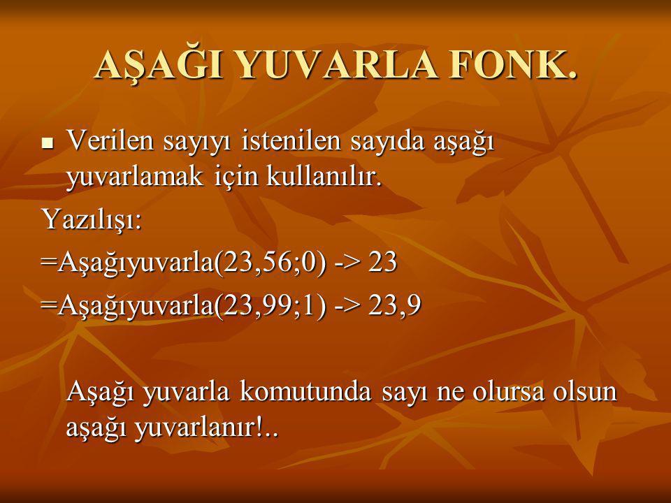 AŞAĞI YUVARLA FONK. VVVVerilen sayıyı istenilen sayıda aşağı yuvarlamak için kullanılır. Yazılışı: =Aşağıyuvarla(23,56;0) -> 23 =Aşağıyuvarla(23,9